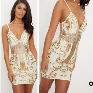 Nasty Gal gold sequin bodycon dress